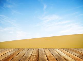 Wooden Plank Floor in a Desert