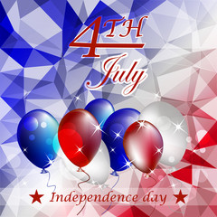 Independence day, vector illustration with balloons and stars