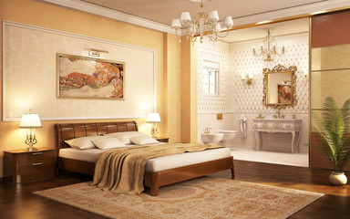 Bedroom with bathroom in a classic style