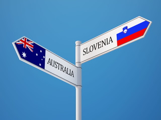 Slovenia Australia  Sign Flags Concept