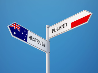 Poland Australia  Sign Flags Concept