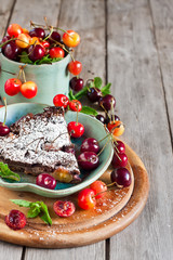 Clafoutis with cherry background