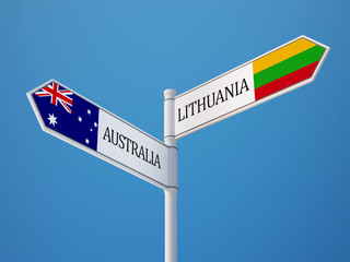 Lithuania Australia  Sign Flags Concept