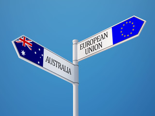 European Union Australia  Sign Flags Concept