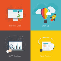 Flat web development internet business concepts vector set