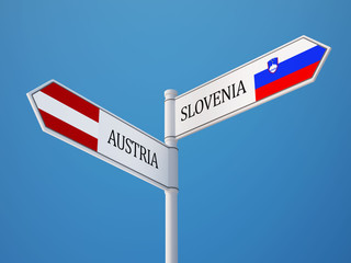 Slovenia Austria  Sign Flags Concept