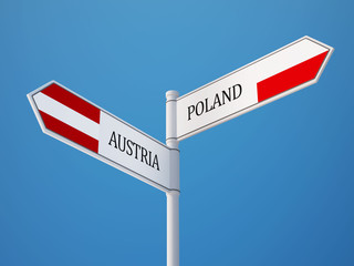 Poland Austria  Sign Flags Concept