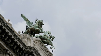 Statue in Rome city, timelapse