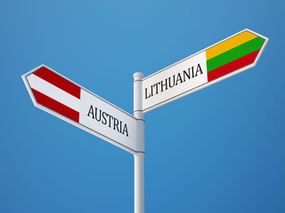Lithuania Austria  Sign Flags Concept