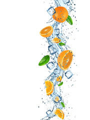 Fresh orange with water splash