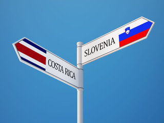 Slovenia Costa Rica.  Sign Flags Concept