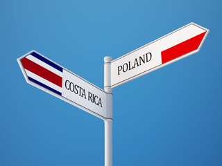Poland Costa Rica.  Sign Flags Concept