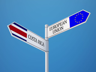 European Union Costa Rica.  Sign Flags Concept