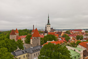View of historical center of Tallinn, Estonia (UNESCO site)