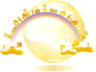 街と地球と虹