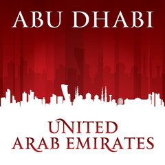 Abu Dhabi UAE city skyline silhouette red background