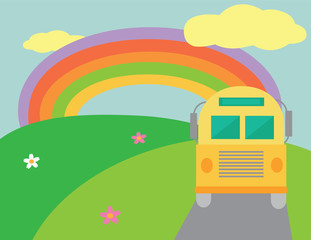 Retro bus with rainbow