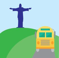Bus with statue of Jesus in Rio de Janeiro