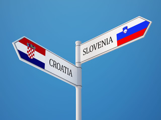 Slovenia Croatia.  Sign Flags Concept