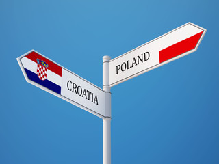 Poland Croatia.  Sign Flags Concept