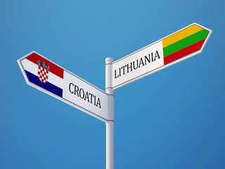 Lithuania Croatia.  Sign Flags Concept