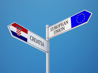 European Union Croatia.  Sign Flags Concept