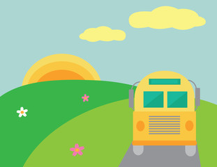 Bus on the summer landscape with sun