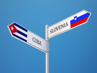 Slovenia Cuba  Sign Flags Concept