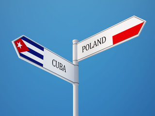 Poland Cuba  Sign Flags Concept