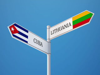 Lithuania Cuba  Sign Flags Concept