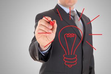 Businessman drawing lightbulb
