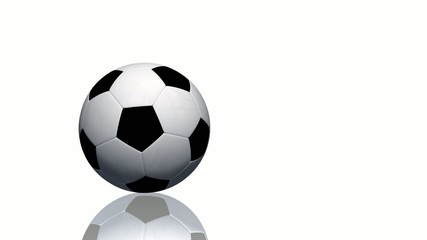 Soccer ball rolls on white background