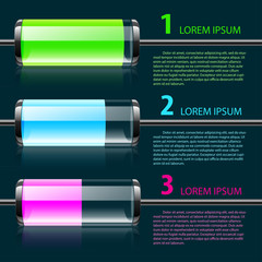 Vector colored glass bulbs infographic