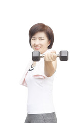 Healthy fitness middle aged asian woman happy lifting weight