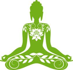 Green floral Buddha