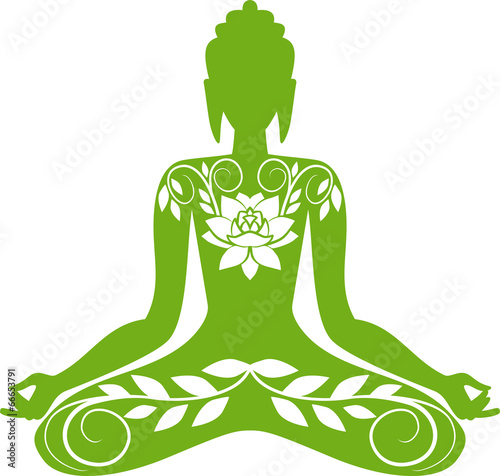Green floral Buddha - 66653791