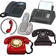 Vector Set of Cartoon Telephones