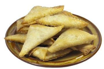 Brown Plate of Folded and Freshly Fried Samoosa Snacks