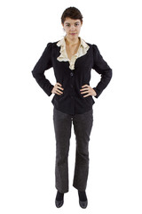 young millenial female business professional on white background
