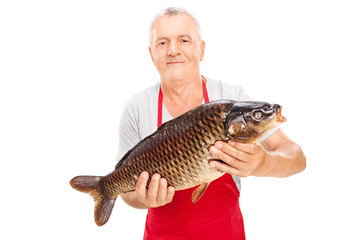 Mature fishmonger holding a common carp