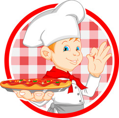 boy chef cartoon holding pizza