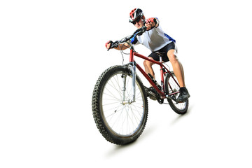 Male cyclist riding a mountain bike