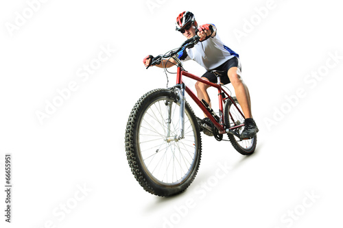 Papiers peints Cyclisme Male cyclist riding a mountain bike