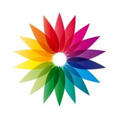 Vector logo rainbow flower, abstract shape