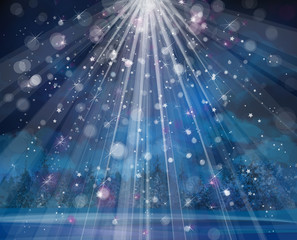 Vector winter background with lights and stars.