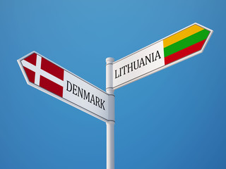 Lithuania Denmark  Sign Flags Concept
