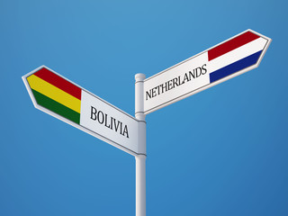 Bolivia Netherlands  Sign Flags Concept