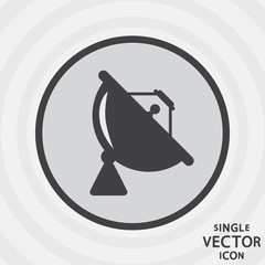 Single vector monochrome flat icon. Satellite dish.