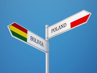 Poland Bolivia  Sign Flags Concept