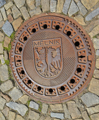 Hatch cover in the city Melnik, the Czech Republic